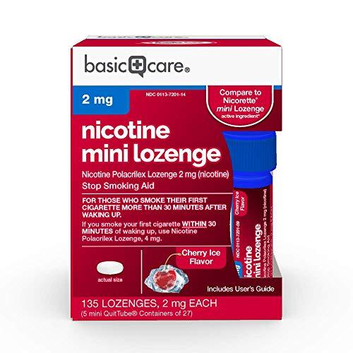 Basic Care Mini Nicotine Polacrilex Lozenge 2 mg (nicotine), Cherry Ice Flavor, Stop Smoking Aid, 135 Count