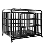 AGESISI Heavy Duty Dog Crate Strong Metal Dog Cage Dog Kennels for Medium and Large Dogs, Pet Playpen Indoor Outdoor with Four Wheels, Self-Locking Latches, 42 inches