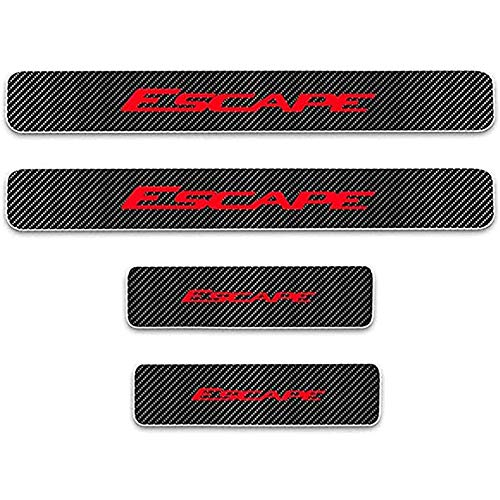 ZGYAQOO 4 Pcs Car Carbon Fiber Leather Door Sill Kick Plates for Ford Escape, Scuff Plate Guard Protector Trim Sticker, with High Intensity Reflective Tape