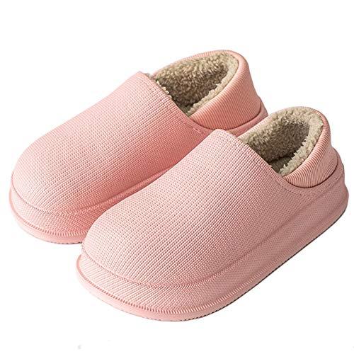 FitWee Warm Winter Home Mules Waterproof Slippers Plush Fleece Lining House Shoes Anti-Slip Garden Clogs Indoor Outdoor Men Women Pink Size 35-36