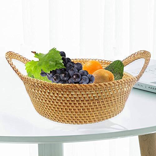 Mimbre Canasta De Frutas Con Asas,Cesta De Almacenamiento De Alimentos Para Pan Fruta Verduras Aperitivos Cocina Picnic Organizador De Almacenamiento,Hechos A Mano Naturaleza Rota -Rattan Medium 23x23