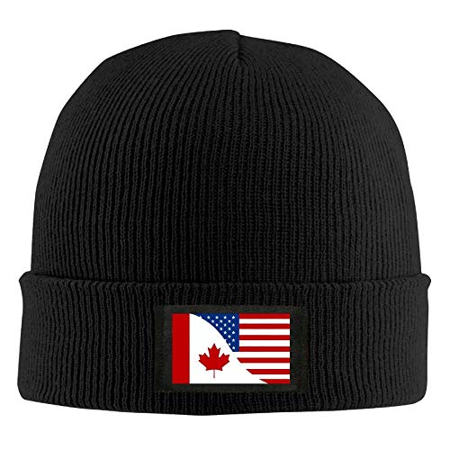 Axige888 Unisex Kanada-USA Freundschaft Flagge Winter Beanie Mütze Skull Cap Schwarz