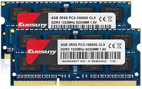 Kuesuny 8GB Kit (2X4GB) DDR3 1333MHz Sodimm RAM PC3 10600 PC3 10600S 1.5V CL9 204 Pin 2RX8 Dual Rank Non-ECC Unbuffered Memory RAM