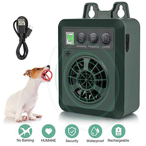 Antibellhalsband, Ultraschall Anti-Bell Gerät,Humane & Harmlose Hunde Bellkontrolle Stopper, Wiederaufladbarer Erziehungshalsband Hundebellen Abschreckung, Sicher Bellenstopper für Innen/Außenbereich