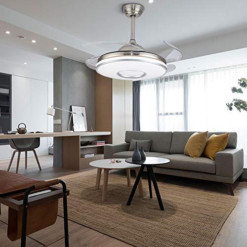 Flybear Ventilatore da soffitto da 42 pollici con lame retrattili, moderno ventilatore da soffitto, lampadario, luci con telecomando, per soggiorno, interno e soffitto, argento