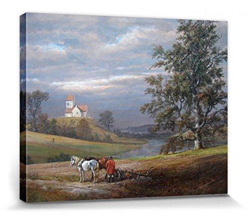 1art1 Johan Christian Clausen Dahl - Paisaje Desde Pedersborg Cerca De Sorø Y Pedersborg Iglesia, 1832 Cuadro, Lienzo Montado sobre Bastidor (50 x 40cm)