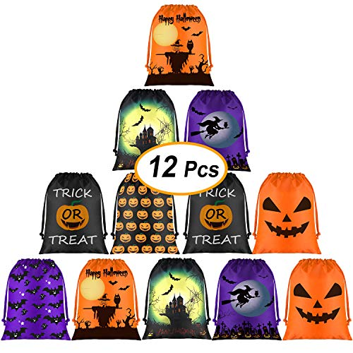 FEPITO Halloween Candy Bags,Halloween Drawstring Goodie Bags,Halloween Treats Bags,Halloween Bags for Halloween Party Favor Supplies Halloween Party Bags