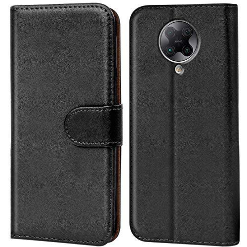 Verco Handyhülle für Xiaomi Poco F2 Pro Hülle, Bookcase Tasche Flipcover für Poco F2 Pro Hülle [Kartenfächer/Aufstellfunktion], Schwarz