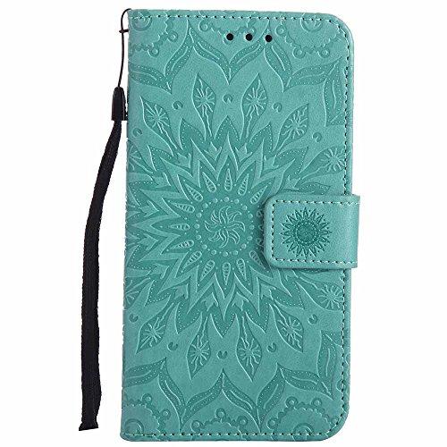 Dfly G3 Hülle, Premium Slim PU Leder Mandala Blume prägung Muster Flip Hülle Bookstyle Stand Slot Schutzhülle Tasche Wallet Case für LG G3, Grün