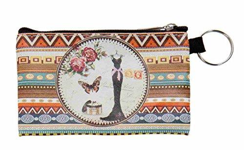 Clayre & Eef FAP0122-4 Börse Geldbörse Etui Geldbeutel Schlüsselanhänger ca. 7 x 11 cm