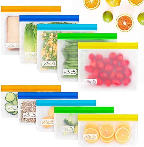 Viedouce 10 Pcs Bolsas Reutilizables para Almacenamiento de Alimentos,Bolsas Congelar Reutilizables,Bolsas de Bocadillos,Bolsas Reutilizables para Fruta Sándwiches Verduras,A Prueba de Fugas,Sin BPA