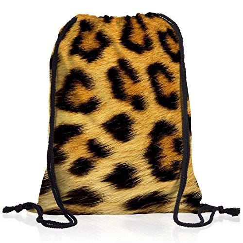 style3 Leopardenfellmuster Leopard Rucksack Tasche Turnbeutel Sport Jute Beutel Leopardenfell