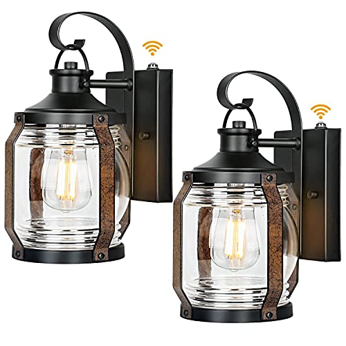 hykolity 2 Pack Canyon Outdoor Wall Light Fixtures W/ Dusk to Dawn Sensor, Exterior Black Wall Lighting, Architectural Wall Sconces W/ Clear Glass Shade for Entryway, Porch, Front Door, ETL Listed