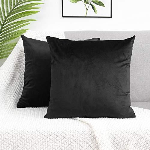 LDUSA HOME Velvet Cushion Covers Soft Square Decorative Throw Pillowcases for Livingroom Sofa Bedroom Portable Cases 45cmx45cm,2 Pack Black