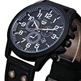 Räumung Uhr Männer Armbanduhr Military Leather Waterproof Date Quartz Analog Army Men's Quartz...