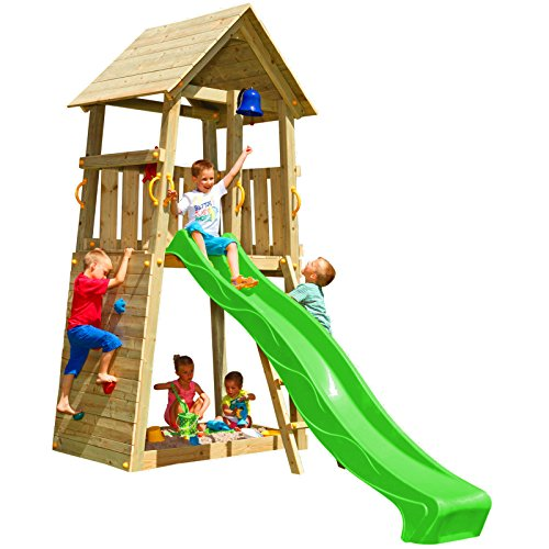 Blue Rabbit 2.0 Spielturm Belvedere mit Rutsche Kletterturm mit Kletterwand Glocke Sandkasten Lenkrad und Holzdach (Rutschenlänge 2,30 m, Grün)