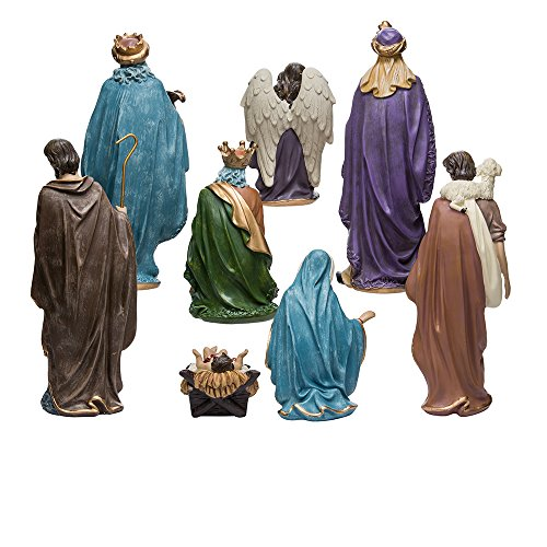 Kurt Adler Resin Nativity Figurine Set, 9-Inch, Set of 8