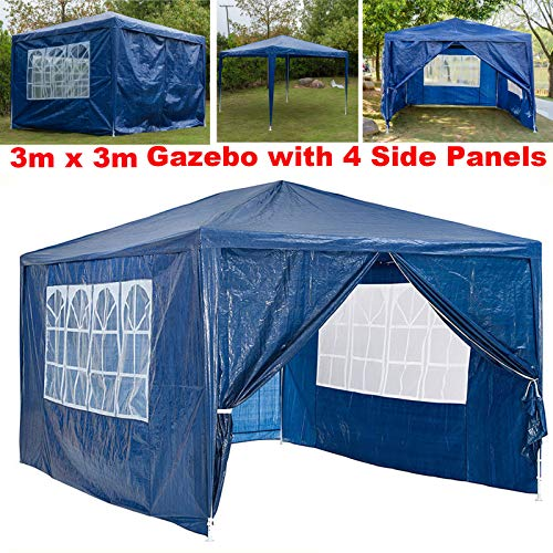 Waterproof 3x4M Garden Gazebo Tent With 4 Side Panels Heavy Duty Gazebo Marquee Party Tent Canopy for Wedding Outdoor Camping Beach - Blue