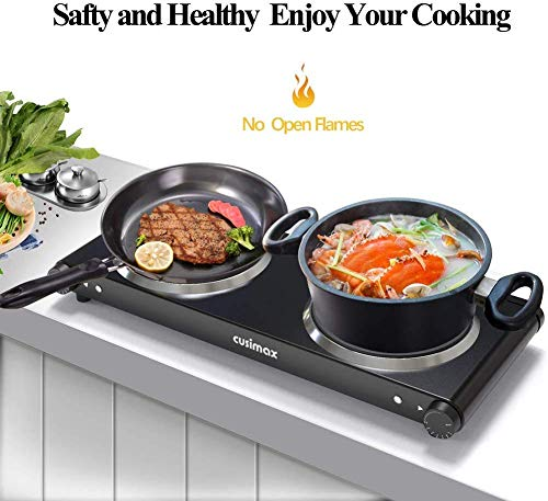 CUSIMAX Double Electric Hob, Portable Ceramic Hot Plate, Double Camping Hob Infrared Cooktop Electric Hob with Dual Temperature Control, Crystal Glass Plate Easy to Clean, Black Steel, 2400W