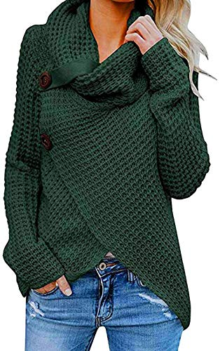 XIUSHANG Womens Sweaters 2020 Women's Turtle Cowl Neck Solid Color Knitted Irregular Hem Coats with Button