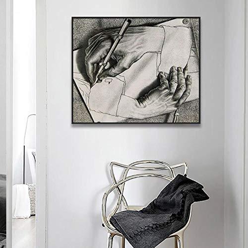 Unbekannt MFMing Plakate und Drucke Leinwand Malerei Relativitätstheorie Optische Täuschung Zeichnung M C Escher Wandbilder für Wohnzimmer-40x48cm ohne Rahmen
