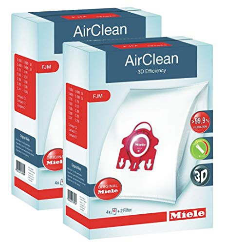 2 X Miele 10123220 AirClean 3D Efficiency Dust Bag, Type FJM, 4 Bags & 2 Filters