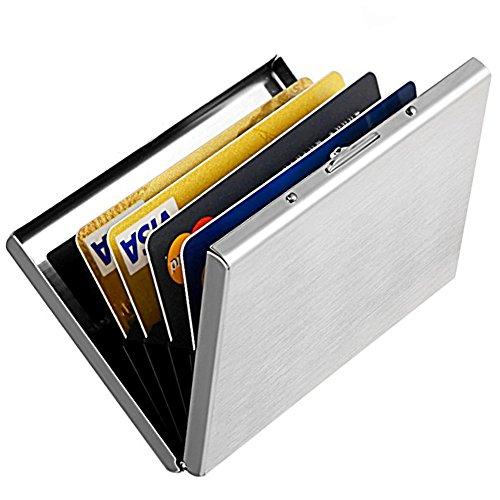 Enyoir Slim Rfid Credit Card Protector Wallet Block Identity Thieves Stainless Steel Aluminum Metal Holder Case With 6 Pvc Slots Silver