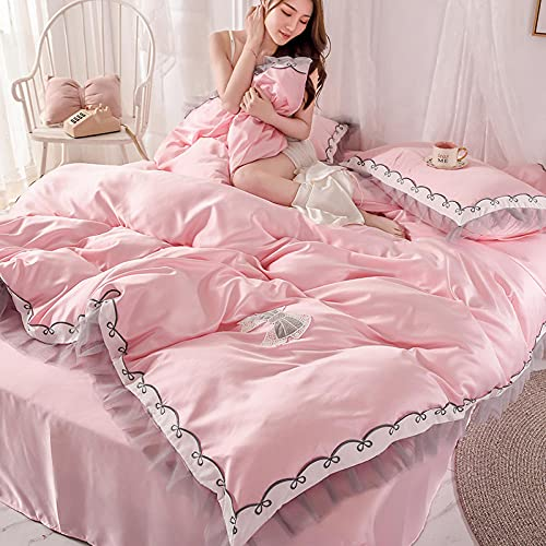 funda de edredón 135,Chica corazón de seda princesa estilo sedoso hoja de hielo edredón cubierta ropa de cama, juego de ropa de cama 100% poliéster king size tapa edredón conjunto de 4 piezas conjunt