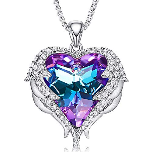 CDE Necklaces for Women Embellished with Austrian Crystals Pendant Necklace Heart Of Ocean Valentine's Day Gift for Women Mom Her