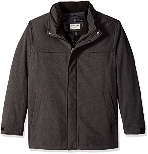 Dockers Men's B&t Soft Shell Jacket with Hood, Heather Charcoal, 2X