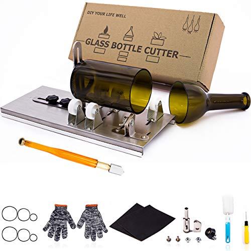 Glasschneider für Flaschen, Glasflaschenschneider DIY-Gerät zum Schneiden von Bier-, Schnaps-, Whiskey-, Alkohol-, Champagnerflaschen, Weinflaschenschneider für runde Flaschenschneider von Camdios