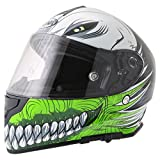 Caschi integrali VCAN V127 Hollow Skull Nuovo Casco Moto Sportivi Racing Casco Integrale Touring, Verde - Verde - XL