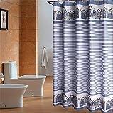 LAundNA Blue Stripes Polyester-Gewebe Wasserdichte Badezimmer Duschvorhang Set mit Haken , 120*180cm