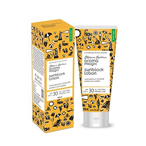 Aroma Magic Blossam Kochhar Sun Block Lotion FPS 30 PA ++ large spectre UVA/UVB protège et matifie 100 grammes