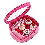 non-brand Reise Cartoon Kuchen-Design Kontaktlinsenbehlter Kontaktlinsen Aufbewahrungsbox mit Sauger und Pinzette - Rose Rot