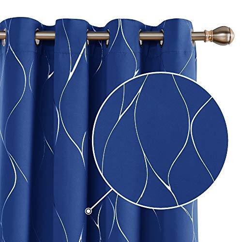 Deconovo Cortina Dormitorio Térmica Aislante Frío y Calor Dcorativo con Ollaos 2 Piezas 140 x 245 cm Azul Oscuro