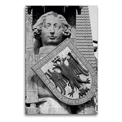 Premium Textil-Leinwand 60 x 90 cm Hoch-Format Ritter Roland in Bremen | Wandbild, HD-Bild auf Keilrahmen, Fertigbild auf hochwertigem Vlies, Leinwanddruck von kattobello