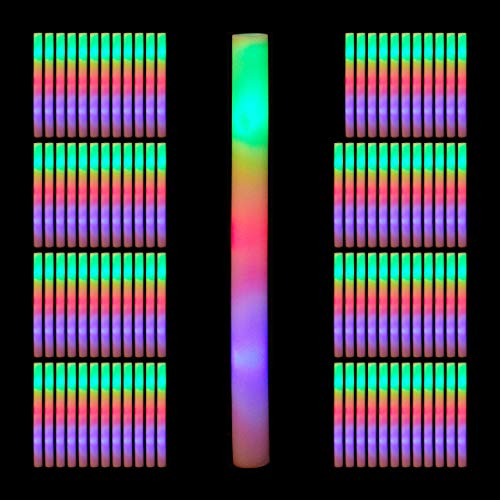 Relaxdays 96 x Leuchtstab LED, Bunte Blinkstäbe, Leuchten in 3 Modi, aus Schaumstoff, Batterien inklusive, Partystab, weiß