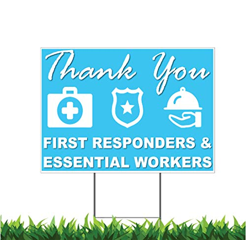 M&R Teal with Icons Thank You Stay Safe, Health Care, First Responders, Essential Workers 18x24-inch Yard Sign (Outdoor, Weatherproof Corrugated Plastic) Metal H-Stake Included