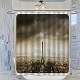 Duschvorhang, Eiffelturm, Paris Skyline, bewölkte Stadt, Silhouette, europäischer Vogelaugenblick, realistisch, braun-beige, 183 x 183 cm, wasserdicht, mit 12 Kunststoffhaken, waschbar, Bad-Cu