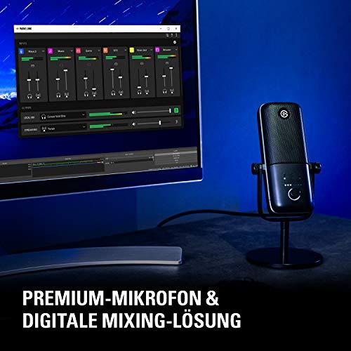 Elgato Wave:3, Premium-USB-Kondensatormikrofon mit digitaler Mixing-Lösung, Anti-Clipping-Technologie und kapazitivem Sensor für Stummschaltung, für Streaming und Podcasting