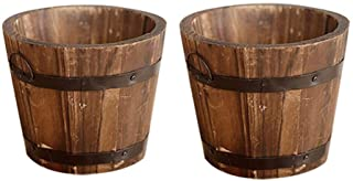 CosCosX 2 Pcs Rustic Wooden Whiskey Barrels Bucket with Handle Flower Planter Plant Pots Boxes Container Water Wishing Wel...