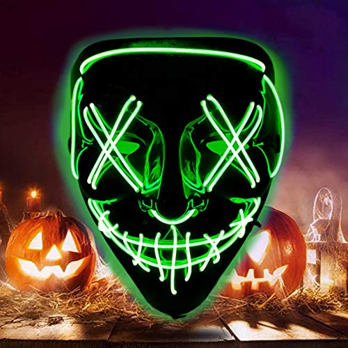 Scary LED Halloween Mask with Three Lighting Modes Purge Mask Light Up Cosplay Frightening EL Wire Mask for Festival Costume Adults Kid's Party Decoration Props