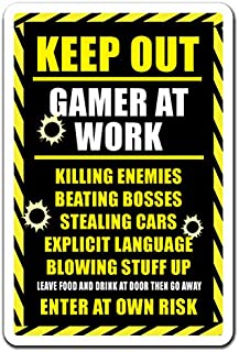 Keep Out Gamer at Work Aluminum Sign Xbox ps3 ps4 Playstation Warning   Indoor/Outdoor   10