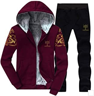 Mens Casual Tracksuits 2 Pieces Sets Sports Jogging Hooded Cardigan Sweat Suits