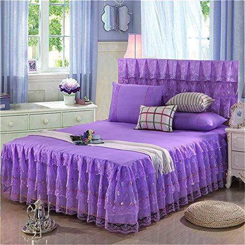 RUIDP Bettrock für Schlafzimmer Einfarbig Doppelschicht rutschfest Vier Jahreszeiten Bettvolant Prinzessin Bett Falten Spitze elastische rüsche weiche bettrock Bett Rock