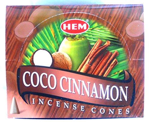 HEM Incense Cones Coco Cinnamon - Conos de incienso (coco, canela, 12 x 10 unidades, 120 unidades)