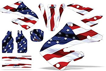 AMR Racing MX Dirt Bike Graphics kit Sticker Decal Compatible with Honda CR125 1998-1999 and CR250 1997-1999 - Stars and Stripes