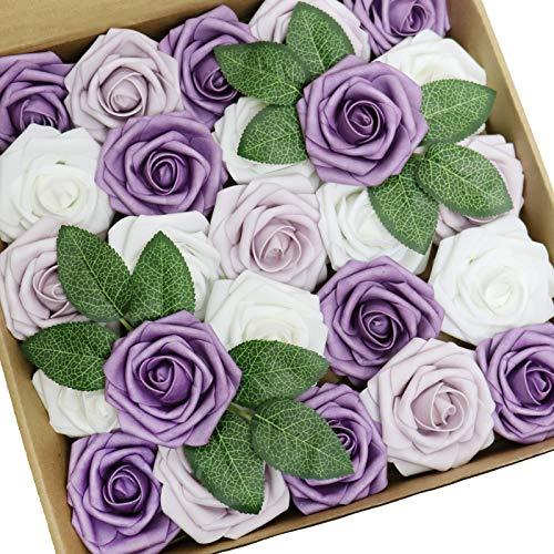 D-Seven 25pcs Artificial Flower White & Lavender Mist & Pale Lilac Roses with Stem for DIY Wedding Bouquets Floral Arrangements Wedding Flower Backdrop Bridal Shower Baby Shower Party Home Decor