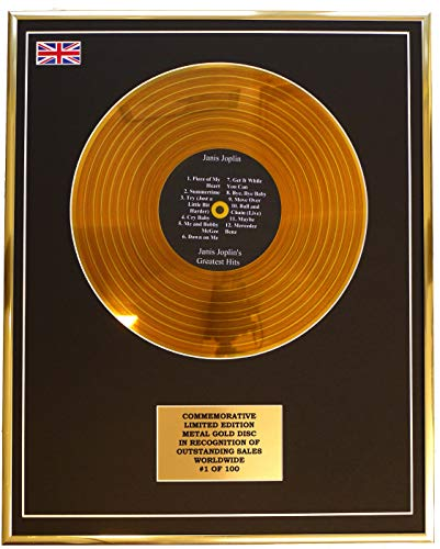 Everythingcollectible Janis Joplin - Janis JOPLIN'S Greatest Hits/Metall Gold Disc Display Gedenk Limited Edition